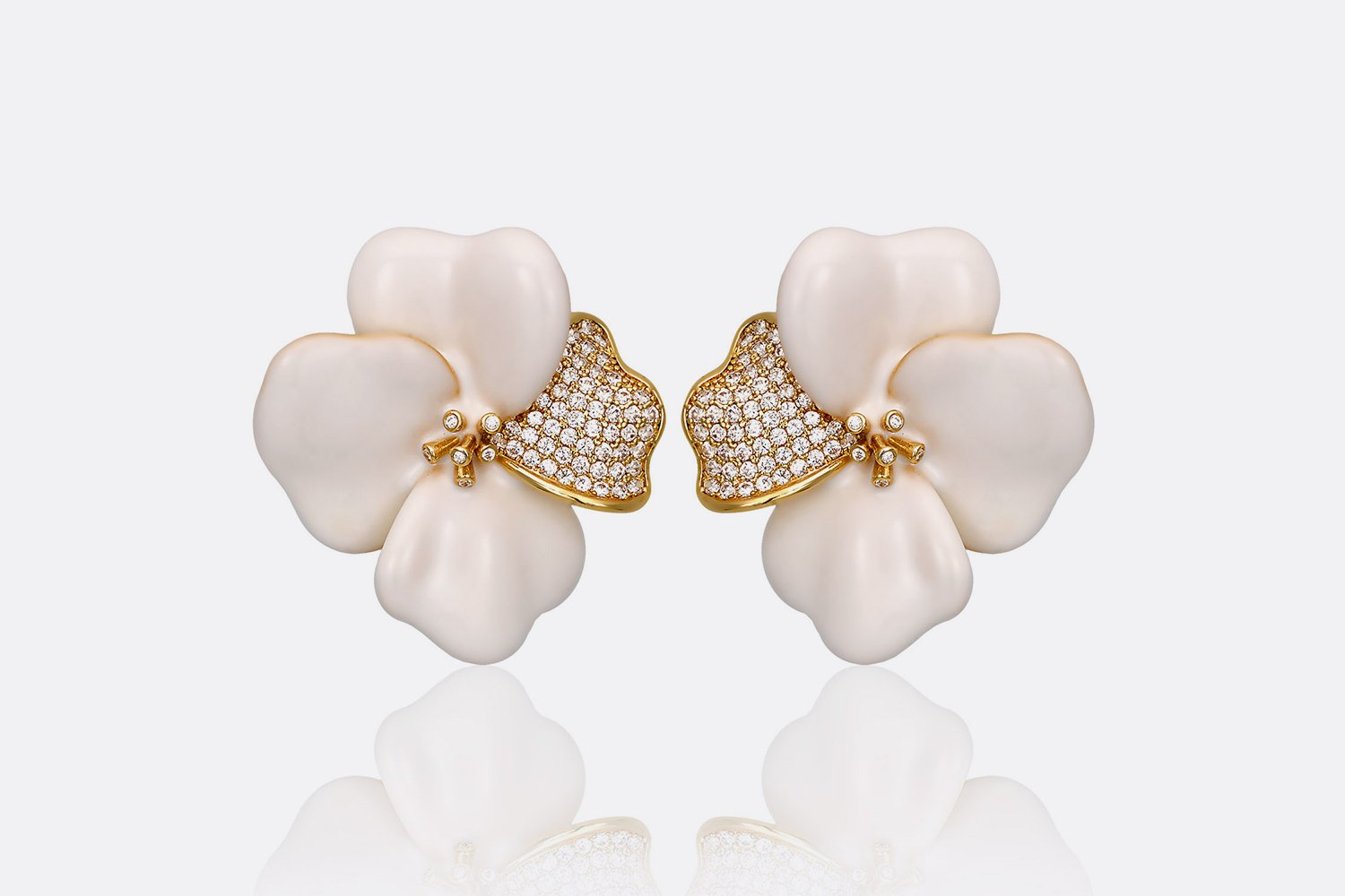 White Begonia Flower Earrings Ozar Jewels